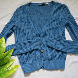 BDG blue button up knitted cardigan size M